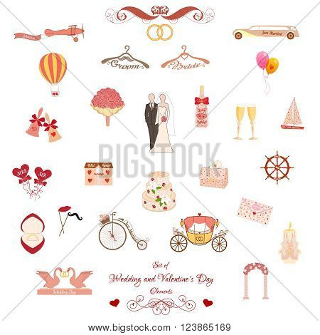 Set of Wedding and Valentines Day Classic and Retro Elements. Pastel pink elements for wedding designs, Valentines Day, web, logo, and other holiday romantic projects.