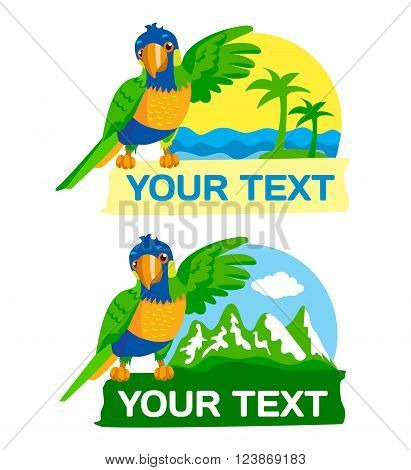 Rainbow Parrot Against The Background Sea, ​​Palm Trees And Mountains, Grip The Text Space. Vector Illustration. Rainbow Parrot For Sale. Rainbow Parrot Location. Rainbow Parrot Mascot. Macaw Parrot.