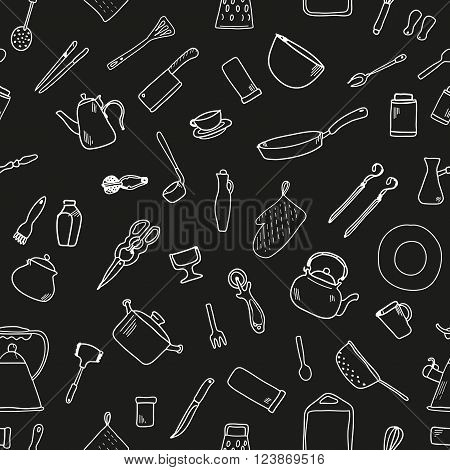 Seamless pattern with kitchenware. Doodle. Vector. Isolated