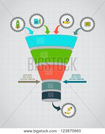 Funnel flow chart. Infographic template . Design for presentation, round chart or diagram. Concept for 5 steps, parts or options. Vector EPS10.
