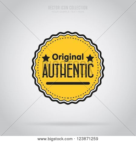 Original badge isolated vector in flat design style. Authentic badge. Original icon vector. Original modern stamp. Advertisement sign. Special offer icon. Retail icon. Authentic icon. Yellow tag.