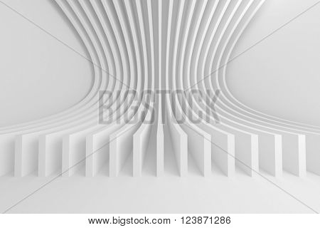 3d Rendering of Abstract Architecture Background. White Circular Building