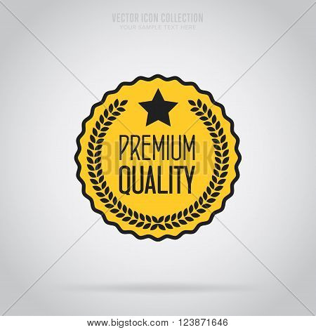Premium quality stamp flat vector illustration. Design of ad offer stamp. Premium quality stamp. Premium quality sticker. Promo offer. Premium quality badge. Special offer stamp. Premium quality label. Vector icon of premium quality. Quality stamp.