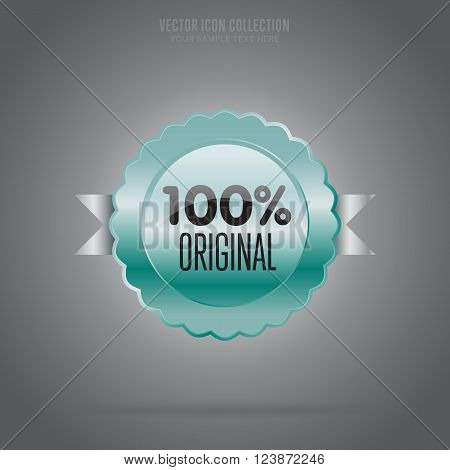 Original badge isolated vector in flat design style. Authentic badge. Original icon vector. Original modern stamp. Advertisement sign. Special offer icon. Retail icon. Authentic icon.