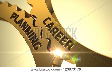 Career Planning Golden Gears. Career Planning - Concept. Golden Metallic Gears with Career Planning Concept. Career Planning on Mechanism of Golden Metallic Cogwheels with Lens Flare. 3D.