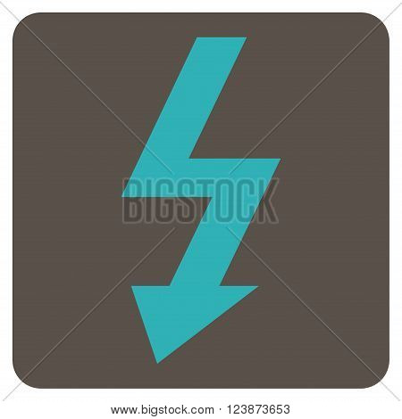 High Voltage vector icon. Image style is bicolor flat high voltage pictogram symbol drawn on a rounded square with grey and cyan colors.