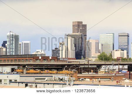 Denver, Colorado - May 4, 2015: Skyscrapers in a mile high Denver downtown, Colorado, USA