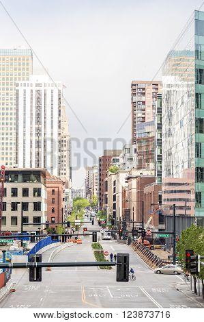 Denver, Colorado - May 4, 2015 : Skyscrapers in a mile high Denver downtown, Colorado, USA