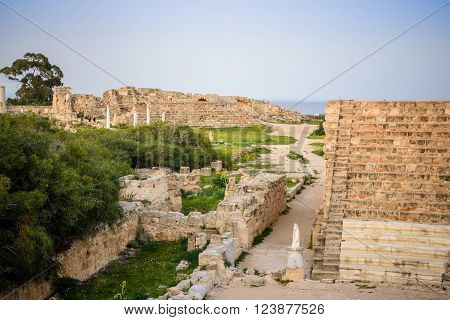 Amphitheater in ancient city of Salamis located in eastern part of Cyprus. poster