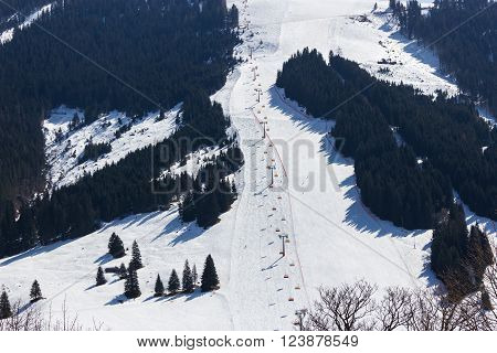 Ski area Dienten am Hochkonig austria Alps in winter