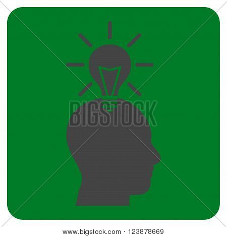 Genius Bulb vector icon. Image style is bicolor flat genius bulb iconic symbol drawn on a rounded square with green and gray colors.