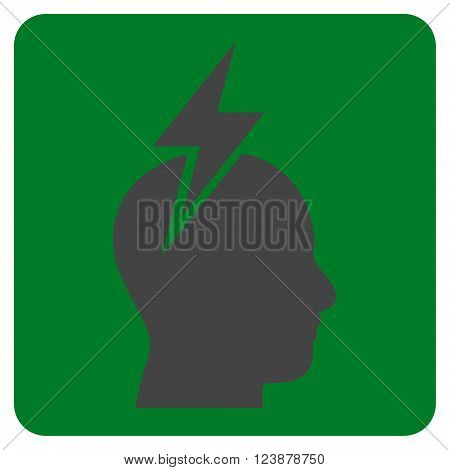 Headache vector icon. Image style is bicolor flat headache pictogram symbol drawn on a rounded square with green and gray colors.