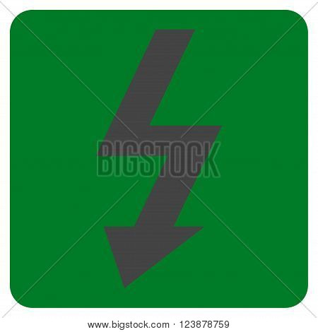 High Voltage vector icon symbol. Image style is bicolor flat high voltage pictogram symbol drawn on a rounded square with green and gray colors.