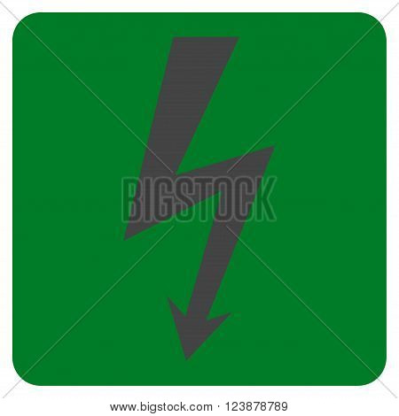 High Voltage vector symbol. Image style is bicolor flat high voltage iconic symbol drawn on a rounded square with green and gray colors.