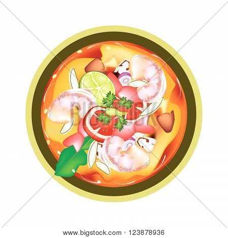 Thai Cuisine Tom Yum Goong or Traditional Thai Spicy and Sour Soup with Prawns Mushroom Coconut Milk and Herbs. One of The Most Popular Dish in Thailand.