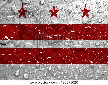 flag of Washington D.C. with rain drops