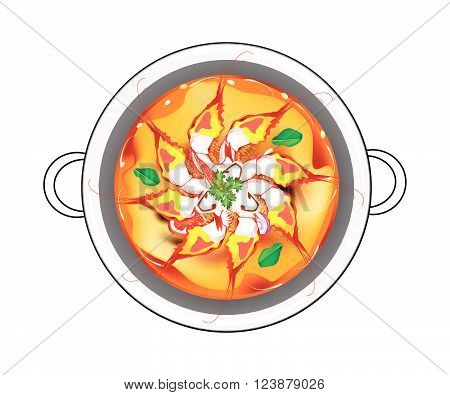 Thai Cuisine Tom Yum Goong or Traditional Thai Spicy and Sour Soup with Shrimps Mushroom Coconut Milk and Herbs. One of The Most Famous Thai Recipe in The World.