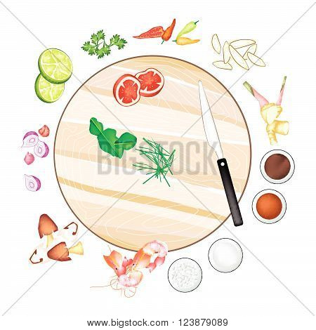 Thai Cuisine 14 Ingredients Tom Yum Goong or Thai Spicy and Sour Soup with Prawns. One of The Most Popular Dish in Thailand.