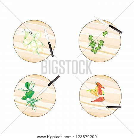 Vegetable and Herb Illustration Pepper Kaffir Lime Leaves White Cauliflower and Coriander on Wooden Cutting Boards.