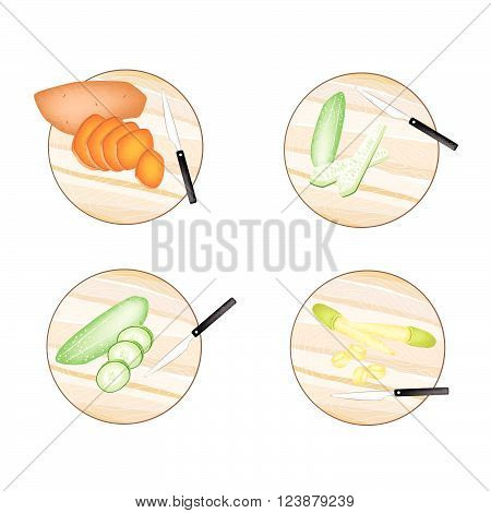 Vegetable Illustration of Orange Sweet Potatoes Cucumber and Baby Corns on Wooden Cutting Boards.