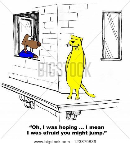 Business cartoon about conflict between the business cat and dog.
