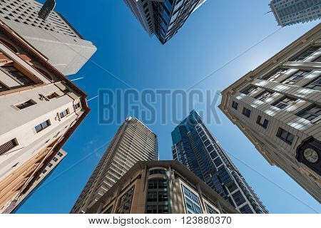 Five Tall Buildings Upright