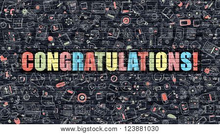Congratulations Concept. Modern Illustration. Multicolor Congratulations Drawn on Dark Brick Wall. Doodle Icons. Doodle Style of Congratulations Concept. Congratulations on Wall.