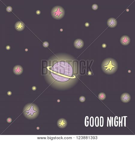 Cute hand drawn doodle good night postcard card cover with saturn planet and stars. Cosmic background