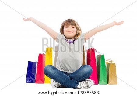 Cheerful And Joyful Shopping Kid