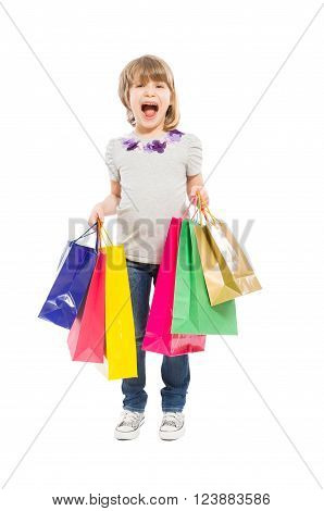 Enthusiastic And Young Shopping Girl