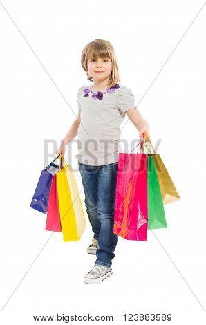 Young Shopping Girl Walking