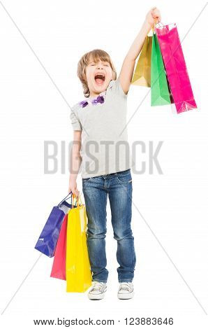 Excited Young Shopping Girl Shouting For Joy