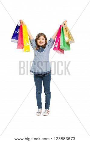 Young And Happy Shopping Girl Smiling
