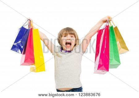 Very Excited And Enthusiastic Shopping Girl