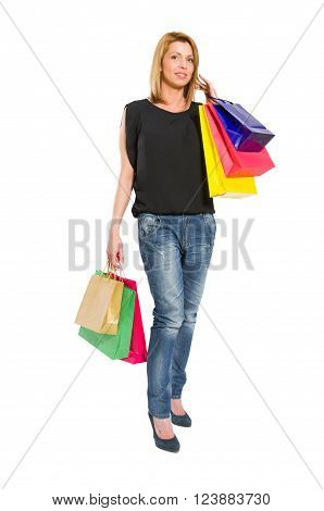 Shopping Woman Acting Carrying Gifts