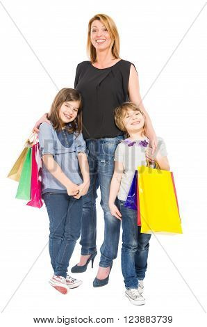 Happy Shopping Mother And Daughters Smiling