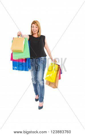 Happy Shopping Woman Showing The Shopping Bags