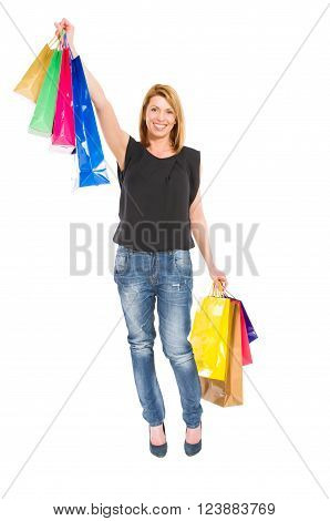 Excited Shopping Woman Standing On White Background