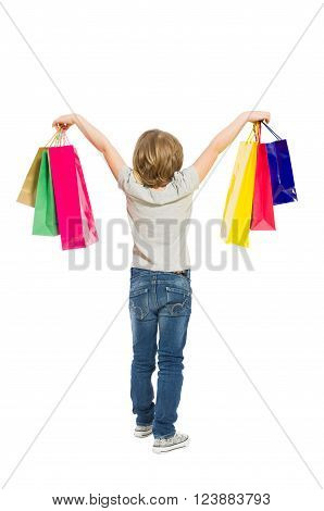 Full body of young shopping girl from behind isolated on white background