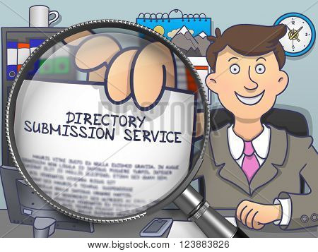 Directory Submission Service. Paper with Concept in Businessman's Hand through Magnifier. Colored Modern Line Illustration in Doodle Style.