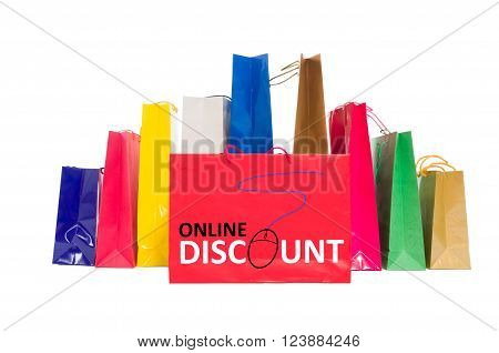 Online discount concept using shopping bags isolated on white background