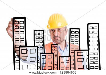 Architect Or Builder Drawing Buildings With Marker