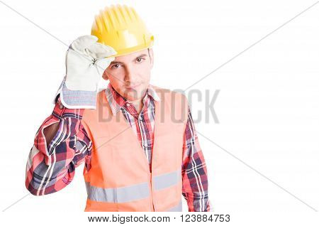 Constructor Geeting By Touching His Helmet