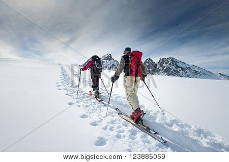 Two Elderly Alpine Skiers