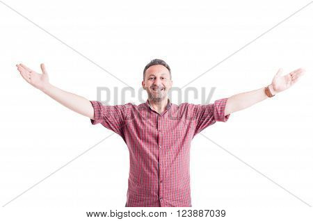 Happy Man With Arms Wide Open