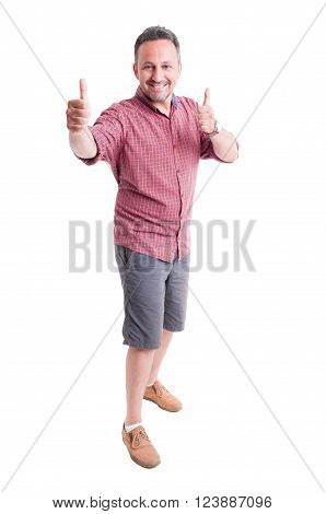 Cheerful Man Showing Thumbs Up