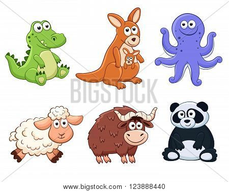 Cute cartoon animals isolated on white background. Stuffed toys set. Vector illustration of adorable plush baby animals.