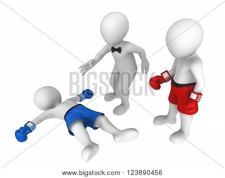 3d boxers. Knockout. The referee makes counting...