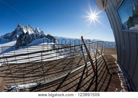 Landscape from the upper station (3466 mt) of the Skyway cable-car. Panorama over Mont Blanc glaciers. Winter sunny day. Courmayer, Italian Alps, Europe.