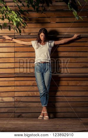 Beautful Female Model On Crucified Position